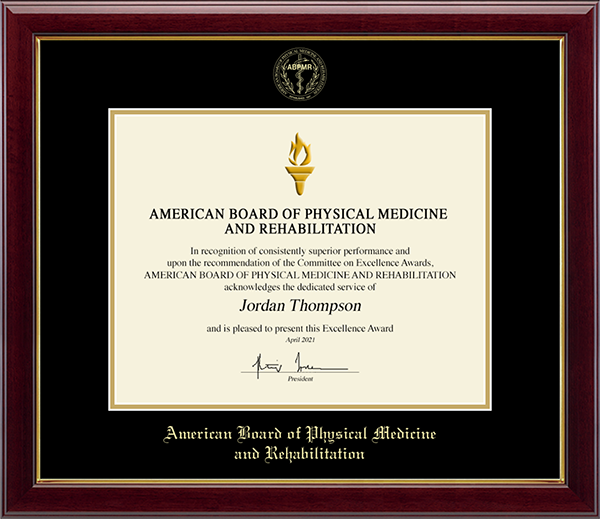 American Board of Physical Medicine and Rehabilitation Gold Embossed Certificate Frame in Gallery