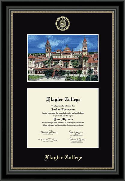 Campus Scene Diploma Frame in Noir