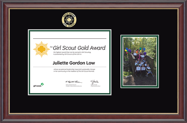 Girl Scout Gold Award Girl Scout Gold Award Certificate & Photo Frame in Studio Gold