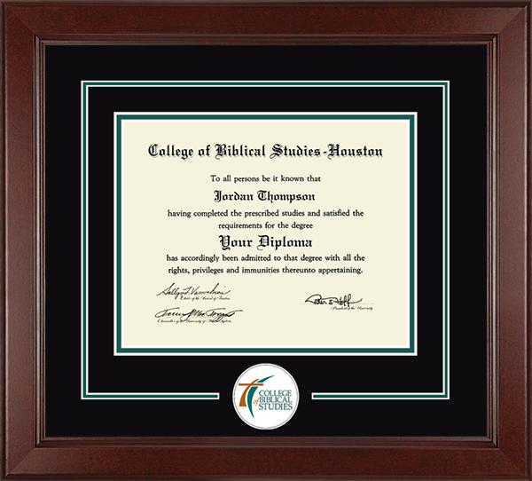College of Biblical Studies - Houston Lasting Memories Circle Logo Diploma Frame in Sierra