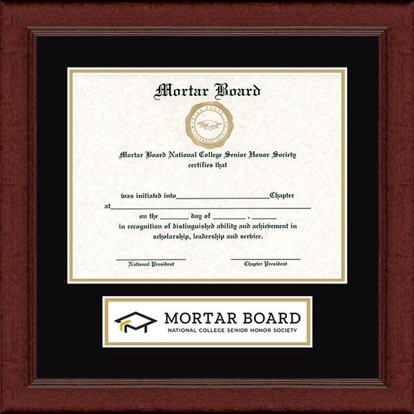 Mortar Board National College Senior Honor Society Lasting Memories Banner Certificate Frame in Sierra