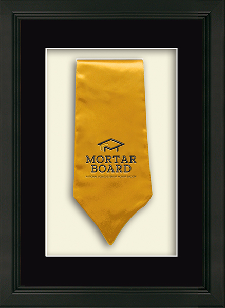 Mortar Board National College Senior Honor Society Commemorative Stole Shadow Box Frame in Omega