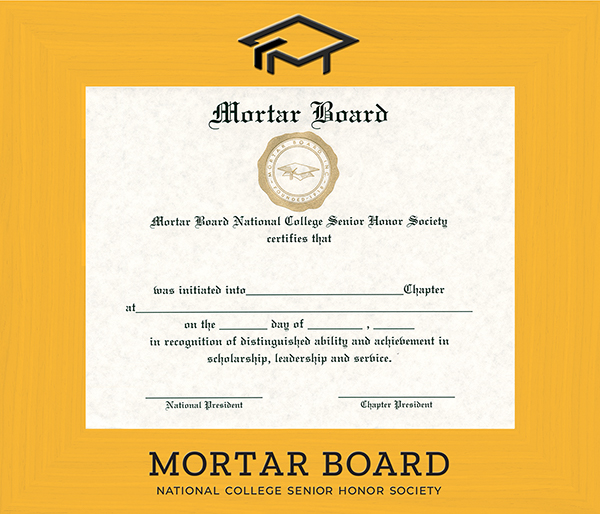Mortar Board National College Senior Honor Society Spectrum Wall Certificate Frame in Expo Gold