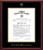 Gold Embossed Commission Certificate Frame in Galleria