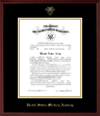 Gold Embossed Commission Certificate Frame in Camby