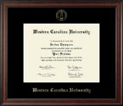 Western Carolina University Gold Embossed Diploma Frame in Studio