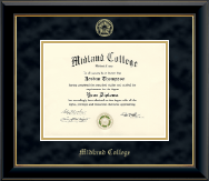 Midland College Gold Embossed Diploma Frame in Onyx Gold
