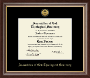 Assemblies of God Theological Seminary Gold Engraved Medallion Diploma Frame in Hampshire