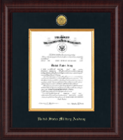 Presidential Gold Engraved Commission Certificate Frame in Premier