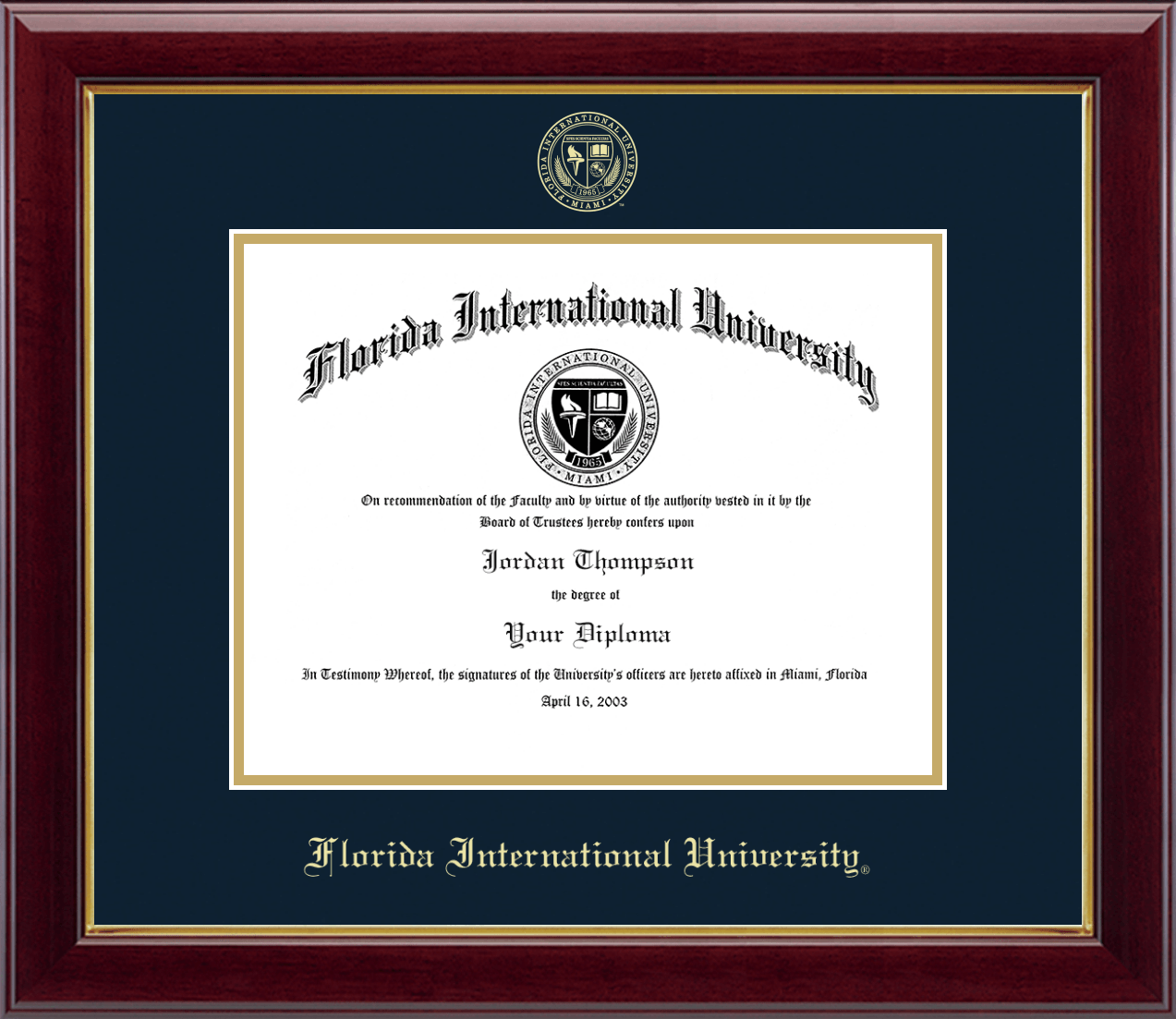 Florida International University Gold Embossed Diploma Frame In Gallery Item 131495