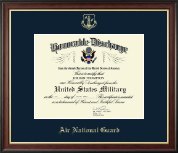 Air National Guard Honorable Discharge Certificate Frame in Studio Gold