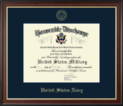 US Navy Honorable Discharge Certificate Frame in Studio Gold