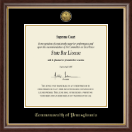 Gold Engraved Commonwealth of Pennsylvania Certificate Frame in Hampshire