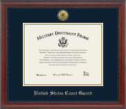 Gold Engraved Medallion Certificate Frame in Signature