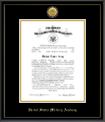 Gold Engraved Medallion Commission Certificate Frame in Onexa Gold