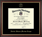 US Marines Honorable Discharge Certificate Frame in Studio Gold