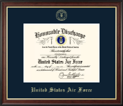 US Air Force Honorable Discharge Certificate Frame in Studio Gold