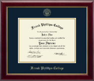 Frank Phillips College Gold Embossed Diploma Frame in Gallery