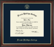 Frank Phillips College Gold Embossed Diploma Frame in Studio Gold