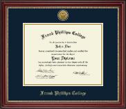 Frank Phillips College Gold Engraved Diploma Frame in Kensington Gold
