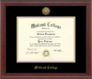 Midland College Gold Engraved Diploma Frame in Signature