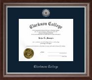 Clarkson College Silver Engraved Medallion Diploma Frame in Devonshire