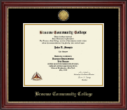 Broome Community College Gold Engraved Medallion Diploma Frame in Kensington Gold