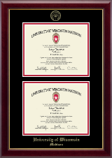 Gold Embossed Double Diploma Frame in Gallery