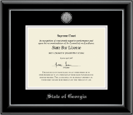 State of Georgia Silver Engraved Medallion Certificate Frame in Onyx Silver
