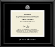Silver Engraved Medallion Certificate Frame in Onyx Silver
