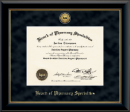 Gold Engraved Medallion Certificate Frame in Onyx Gold
