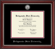 Bridgewater State University  Silver Engraved Medallion Diploma Frame in Kensington Silver
