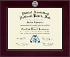 Dental Assisting National Board, Inc. Century Silver Engraved Certificate Frame in Cordova