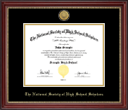 Gold Engraved Medallion Certificate Frame in Kensington Gold