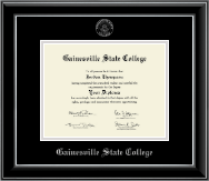 Gainesville State College Silver Embossed Diploma Frame in Onyx Silver