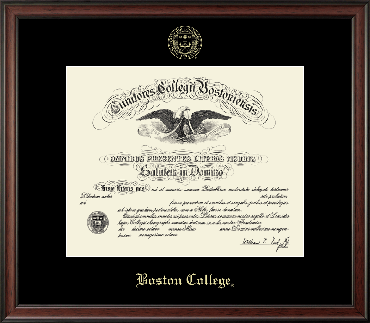 Boston College diploma frame lithograph campus image Boston case certificate degree frames framing gift graduation plaque college holder