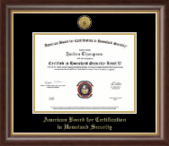 American Board for Certification in Homeland Security Gold Engraved Medallion Certificate Frame in Hampshire