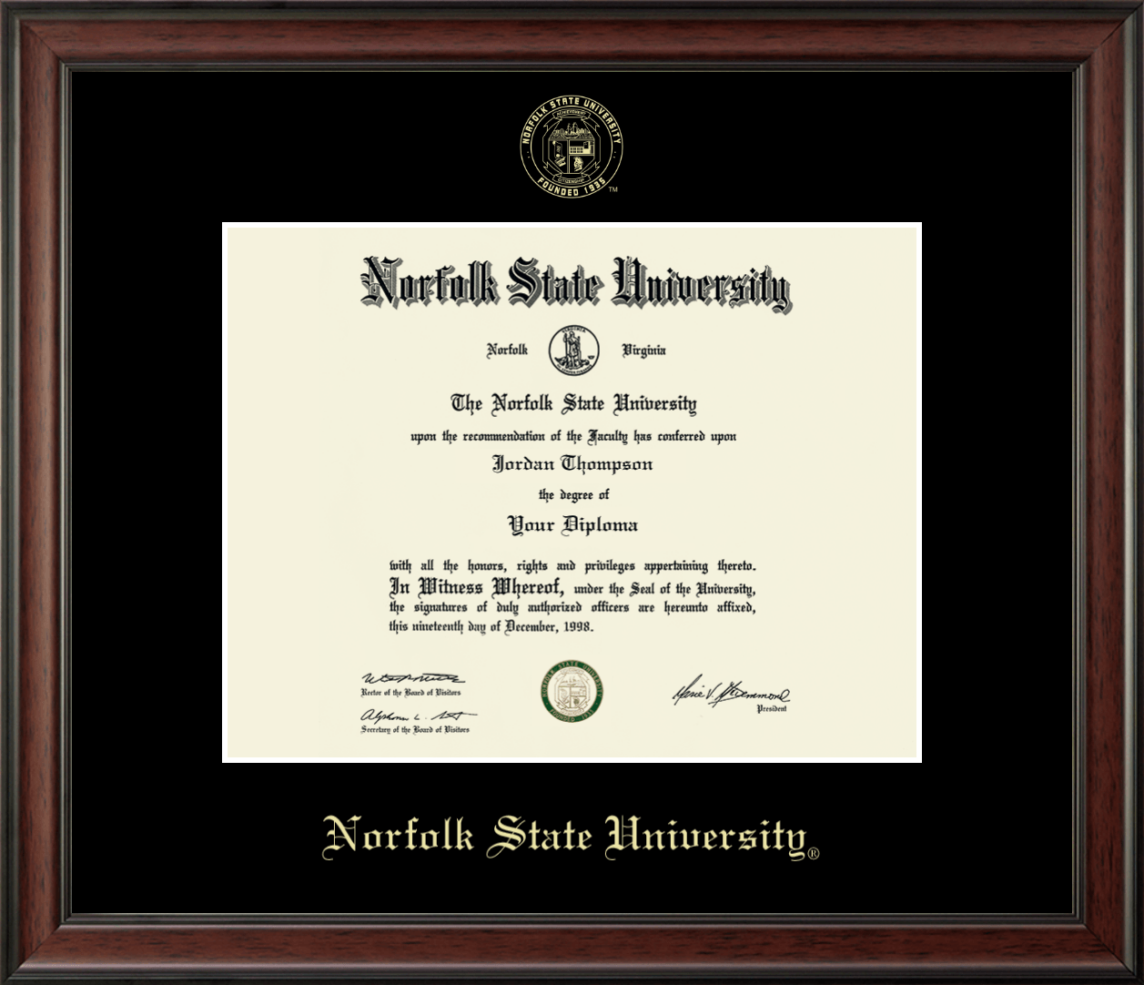 Norfolk State University Gold Embossed Diploma Frame In Studio Item 225289 From Norfolk State University