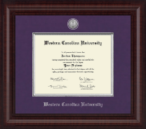 Western Carolina University Presidential Silver Engraved Diploma Frame in Premier