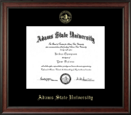 Adams State University  Gold Embossed Diploma Frame in Studio