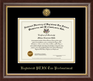 PTIN Directory Inc. Registered PTIN Tax Professional Gold Engraved Medallion Certificate Frame in Hampshire