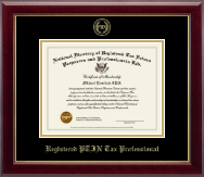 Registered PTIN Tax Professional Gold Embossed Certificate Frame in Gallery