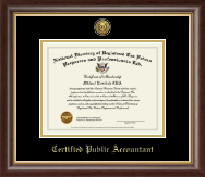 Certified Public Accountant Gold Engraved Medallion Certificate Frame in Hampshire