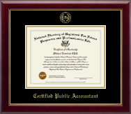 PTIN Directory Inc. Certified Public Accountant Gold Embossed Certificate Frame in Gallery