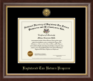 Registered Tax Return Preparer Gold Engraved Medallion Certificate Frame in Hampshire