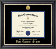 Gold Engraved Medallion Certificate Frame in Noir