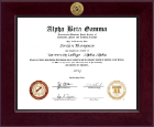 Alpha Beta Gamma Honor Society Century Gold Engraved Certificate Frame in Cordova