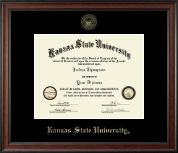 Kansas State University Gold Embossed Diploma Frame in Studio