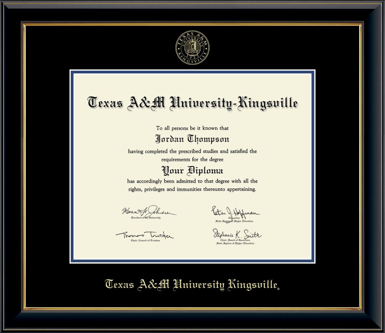 Texas A M University Kingsville Gold Embossed Diploma Frame In Onyx Gold Item 235951