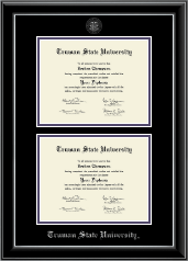 Double Document Diploma Frame in Onyx Silver